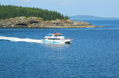 Lighthouse tours boat in Acadia National Park Royalty Free Stock Photos