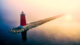 Lighthouse, Tower, Sea, Calm Royalty Free Stock Images