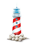 Lighthouse tower at stone rocks hill vector illustration. Sea beacon on seashore stone bank. Eps10 white background. Lighthouse tower at stone rocks hill vector royalty free illustration