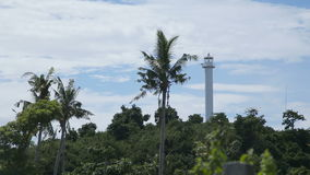 Lighthouse and tropical palms.Malapascua Island stock video footage
