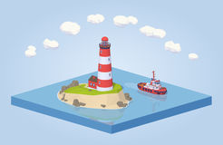 Lighthouse and tugboat Royalty Free Stock Images