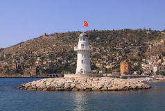 Lighthouse with the Turkish flag Royalty Free Stock Images