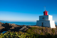 Lighthouse in Ucluelet BC. Amphitrite lighthouse in Ucluelet BC stock photography