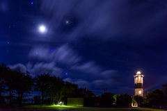 The Lighthouse under the stars. The Lighthouse(Långe Jan, Tall John) under the stars. A Swedish lighthouse located at the south cape of Öland in the royalty free stock photos