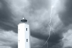 Lighthouse under the storm Stock Photography
