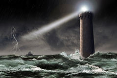 Lighthouse under  the storm Stock Image