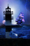 Lighthouse under the storm stock illustration