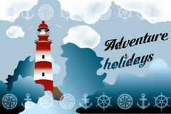 Lighthouse on unsteady sea. Lighthouse on unsteady coastline - Adventure holidays background illustration vector illustration