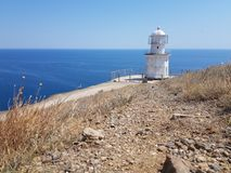 Lighthouse on Black sea stock photography