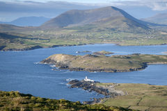 Lighthouse on Valentia Island from Geokaum Mountain Stock Photography