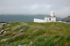 Lighthouse on valentia island. White lighthouse on valentia island, ireland Stock Photo