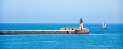Lighthouse of Valletta port Royalty Free Stock Photo