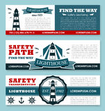Lighthouse vector banners for safety seafaring Stock Images