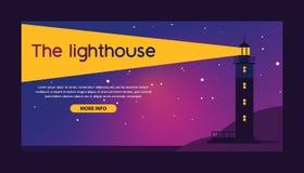 Lighthouse vector beacon lighter beaming path of lighting from seaside coast backdrop illustration lighthouses marine. Background banner stock illustration