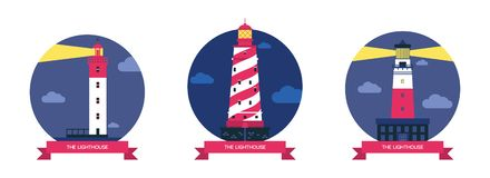 Lighthouse vector beacon lighter beaming path of lighting from seaside coast illustration set of lighthouses isolated on. Background vector illustration