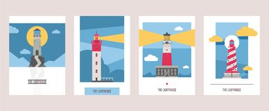 Lighthouse vector beacon lighter beaming path of lighting from seaside coast illustration set of lighthouses isolated on. Background royalty free illustration