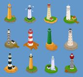 Lighthouse vector beacon lighter beaming path of lighting from seaside coast illustration set of lighthouses isolated on. Marine background vector illustration