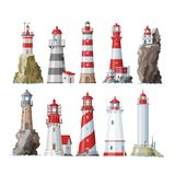 Lighthouse vector beacon lighter beaming path of lighting to ses from seaside coast illustration set of lighthouses. Isolated on white background royalty free illustration