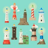 Lighthouse vector beacon lighter beaming path of lighting to ses from seaside coast illustration set of lighthouses. Lighthouse vector beacon lighter beaming stock illustration