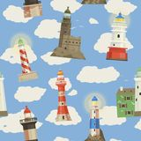 Lighthouse vector beacon lighter beaming path of lighting to ses from seaside coast illustration set of lighthouses. Seamless pattern background stock illustration