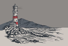 Lighthouse vector drawing Royalty Free Stock Photos