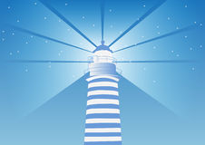 Lighthouse vector illustration | blue color two tone | light direction Stock Photography