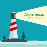 Lighthouse vector illustration in flat design. Beacon on island with trees, grass and seagulls. Bright light can be used as a background for text royalty free illustration