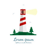 Lighthouse vector illustration in flat design. Beacon on island with trees, grass and seagulls. Isolated on white background Royalty Free Stock Photo