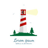Lighthouse vector illustration in flat design. Beacon on island with trees, grass and seagulls. Isolated on white background Stock Photo