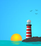Lighthouse. Vector illustration of lighthouse on the middle of the sea Stock Photos
