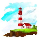 Lighthouse vector illustration  painted watercolor Stock Photo