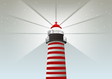 Lighthouse vector illustration | red color building on grey background  | light direction Stock Images