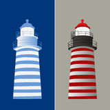 Lighthouse vector illustration in two tone color red and blue | architecture design | safety navigation Royalty Free Stock Images