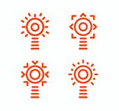 Lighthouse vector isolated set of icons. Outline simple design style. Idea concept logo. Navigation systems logotype vector illustration