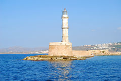 Lighthouse in venetian harbor. Venetian harbor with lighthouse, Chania, Greece Stock Photo