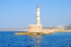 Lighthouse in venetian harbor. Venetian harbor with lighthouse, Chania, Greece stock photo