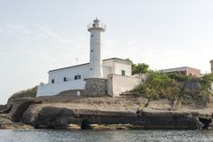 Lighthouse in ventotene. Island. It is the remains of an ancient volcano, and is part of the Pontine Islands stock image