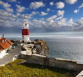 Lighthouse Victoria Tower, Beacon Europe. The Trinity Lighthouse, Victoria Tower. Strait of Gibraltar. The British Overseas Territory of Gibraltar stock image