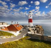 Lighthouse Victoria Tower. The Trinity Lighthouse, Victoria Tower. Strait of Gibraltar. The British Overseas Territory of Gibraltar stock photos
