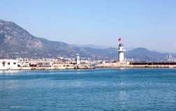 Lighthouse. View at the Alanya harbor Royalty Free Stock Images