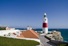 Lighthouse village. Living area for the people working at the lighthouse of Gibraltar, the UK colony at the Mediterranean Sea Stock Photos