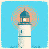 Lighthouse vintage poster on old paper texture. Royalty Free Stock Photos