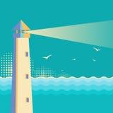 Lighthouse vintage poster.Vintage sea waves background Stock Photography