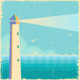 Lighthouse vintage poster.Vintage sea waves background Royalty Free Stock Photo