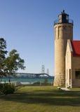 Lighthouse Vista. Old Mission Point Lighthouse and Mackinac Bridge -- Mackinaw City, Michigan, USA Stock Photo