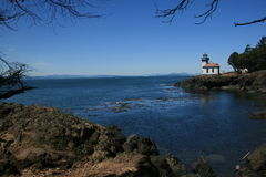 Lighthouse in WA. Lighthouse on a rocky shore in Washington state Royalty Free Stock Photo