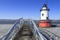 Lighthouse and Walkway Royalty Free Stock Images