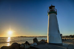 Lighthouse Walton on Santa Cruz Shore Royalty Free Stock Photos