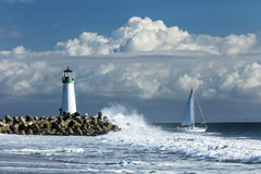 Lighthouse Walton on Santa Cruz Shore Royalty Free Stock Photography
