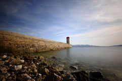 Lighthouse at warm, sunny afternoon light. Ten stops ND used, Adobe RGB color profile,Croatia, Senj ( Zengg royalty free stock images